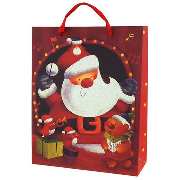 Santa & Friends Christmas Glitter Gift Bag, 12-1/2-Inch