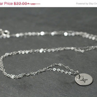 SALE 20%off Sterling Silver Compass Rose Disc Coin Charm Pendant Necklace Personalized