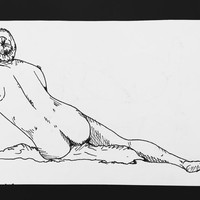 ORIGINAL PEN and INK drawing - nude life study sketch naked person people drawing illustration human study