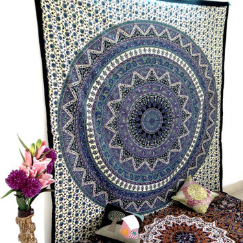 Psychedelic Star Tapestry Bedspread Mandala Hippie Dorm Decor Bohemian Bedsheet Room Wall Decor Hanging