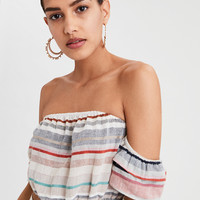 AE Striped Off-The-Shoulder Crop Top, Multi