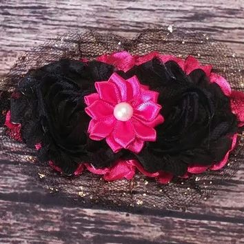Hot pink, Black Shabby, Satin Pearl Flower, and Gold Dusted Black Tulle Headband