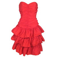 Strapless Red Ruche Layered Bustle Bow Back Party Dress