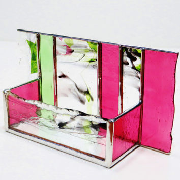 Stained Glass Business Card Holder Fuschia Pink Peridot Green Confetti Art Glass Office Decor Modern Desk Accessory Executive Graduation