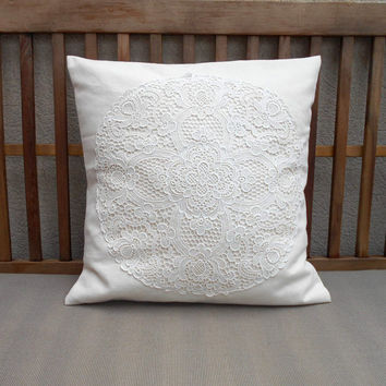 Cream Decorative Pillow Cover, Lace Shabby Chic Pillow, Ivory Throw Pillow Cover, Cottage Decor, Pillow Cover 18 x 18, Lace Doily Pillow
