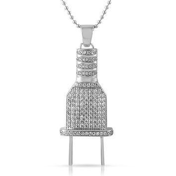 Switch Plug Pendant Simulated Diamonds Iced Out Free Necklace Silver Tone Mens