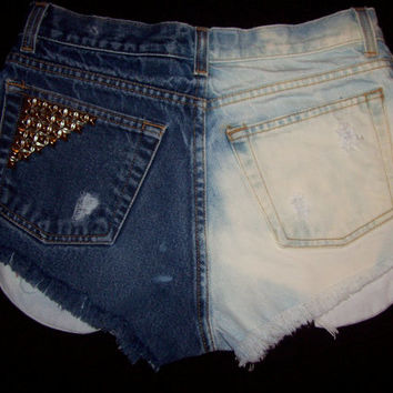 High Waisted Distressed Bleached and Studded by DenimAndStuds