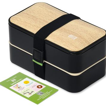 Bento Box  w/ FREE Utensils - Leakproof Lunch Container - Black/Wood by GRUB2GO