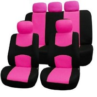 FH-FB050115 Flat Cloth Car Seat Covers Pink / Black Color