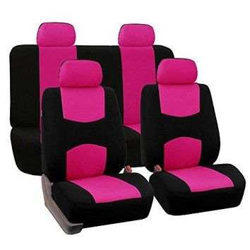 FH Group Universal Fit Full Set Flat Cloth Fabric Car Seat Cover