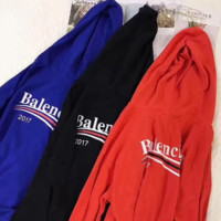 Balenciaga Long Sleeve Hedging Pullover Sweater Hoodies Blue