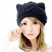 Leegoal Women Devil Horns Cat Ear Crochet Braided Knit Ski Wool Hat Cap,Black