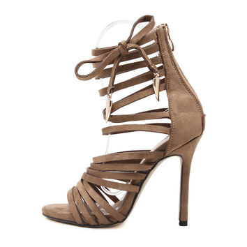 2017 Women's  Sandals High Heels Fashion Pumps Army Green Lace Up Club Sexy Slim Heels High Quality Lady Boots BoSandalias Mujer
