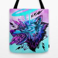 Crystal Wolf Tote Bag by Retkikosmos
