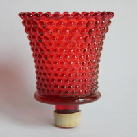 Red Hobnail Votive Candle Cup for Candle Holder or Sconce, Vintage Glass HOMCO Home Interiors