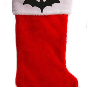 "Vampire Bat Christmas Holiday Stocking 17"" Red/White Plush Hanging Sock Santa Stuffer Merry Gothmas"