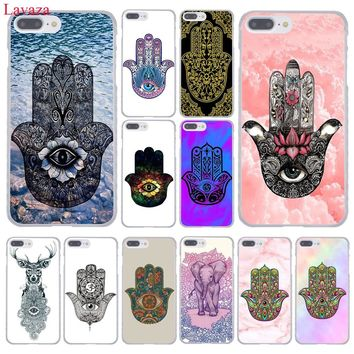 Lavaza Hamsa Hand Amulet Psychedelic Hard Coque Shell Phone Case for Apple iPhone 8 7 6 6S Plus X 10 5 5S SE 5C 4 4S Cover