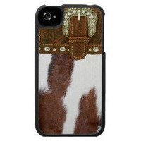 Cowhide & Leather Western IPhone 4 Case