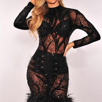 Black See Through Party Dress with Fur Trim