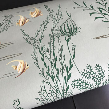 Vintage Bathroom Wallpaper Roll Green Wallpaper Seashells Underwater Pattern Water Aquatic Plants Nature Wall Covering Home Decor