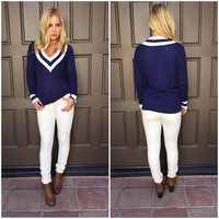 Varsity Blues Prep V Neck Sweater - NAVY