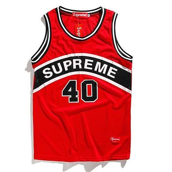 Supreme Trending Women Men Stylish Letter Print Mesh Comfortable Breathable Sleeveless Hip Hop Basketball Vest Top Red I12734-1