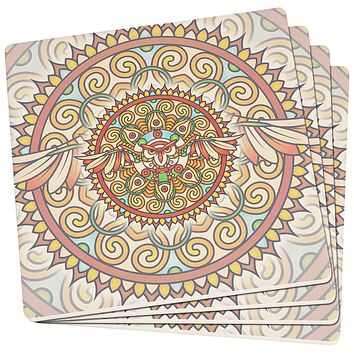 Mandala Trippy Stained Glass Owl Set of 4 Square Sandstone Art Coasters