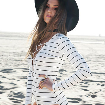 White Stripe Long Sleeve Lace-up Bodysuit