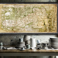 "Medieval map of Great Britain (aroung 1360) Great Britain map up to 60x30"" (152x76cm) Bodleian map of Britain on fine art matte paper"