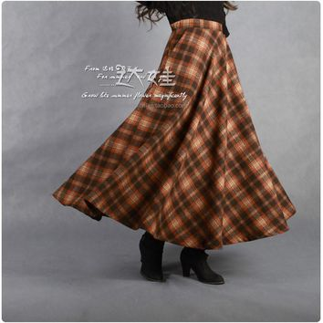 Pleated Wool Plaid Maxi Skirt