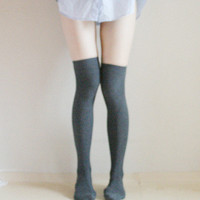 SARA Grey Over the knee socks Thigh high Boot Socks Leg warmer Preppy Pin up Retro Holiday gift