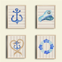 Nautical nursery - Boy nursery decor - Nautical wall decor -  Nursery wall art - Boys bedroom decor - Baby shower gift - New baby gift