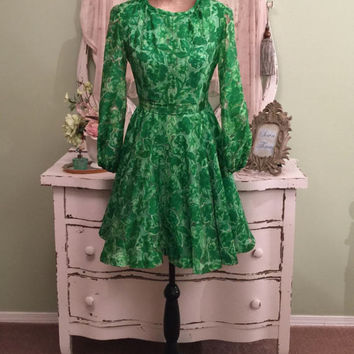 60s Dress, Silk Chiffon Burnout, 1960s Green Dress, XS/S, Mod Dress, Elegant Vintage Dress, Full Skirt Dress, Long Sleeve Short Dress