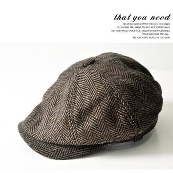 Fashion Herringbone Tweed Gatsby Newsboy Cap Men Wool Ivy Hat Golf Driving Flat Cabbie Flat Unisex Berets Hat
