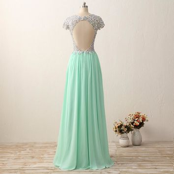 Woman Beaded Chiffon Long Prom Dress Party Side Open Formal Dresses