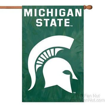 Michigan State Spartans 2sided 28x44 Embroidered Applique Banner Flag University