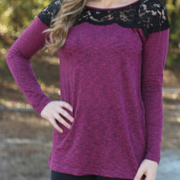 Purple Grey Lace Embroidered Long Sleeve T-shirt
