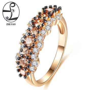 ZHE FAN Vintage Ring Black Gold Color 2 Tone Plating AAA CZ Flower Engagement Rings For Women Gift Jewelry