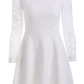 Floral Lace Flouncing A-Line Dress