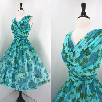 Vintage Party 50s Dress Chiffon Blue Floral by swingkatsvintage