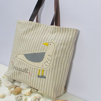 Canvas tote bag with seagull,organic natural color,summer tote, beach tote, all to carry, shopper,unique,chic