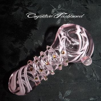 Pink Girly Girl Glass Pipe Color Changing Crystals