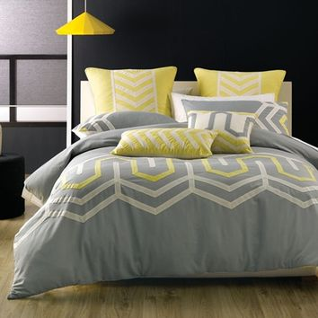 Ralston Grey Yellow Bedding Set by Deco City Living