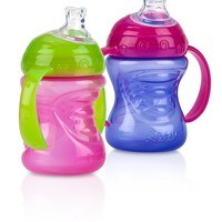 Nuby 2-Handle Cup with No-Spill Super Spout - 8 Ounce - 2 Count Baby Toddler Boys Girls Sippy Training Cups