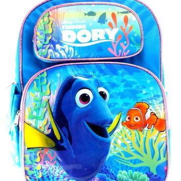 "Disney Pixar Finding Dory 16"" Canvas Blue School Backpack"