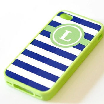 Nautical Monogram iPhone Case - Lime Green & Navy Stripes