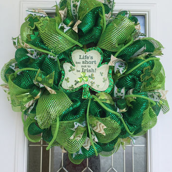St. Patrick's Day Wreath - St. Patty's Day Wreath - Irish Wreath - St. Patrick's Day Decor - St. Patrick's Day Decoration - Green Wreath