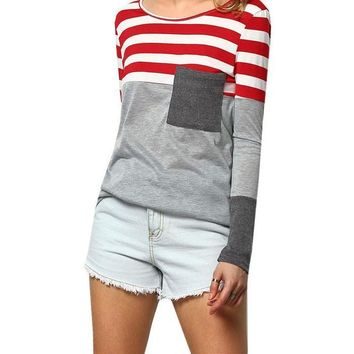 Womens Color Block Tee Summer Fashion Tops Casual Vintage Shirt Grey Long Sleeve Round Neck Striped Pocket T-Shirt