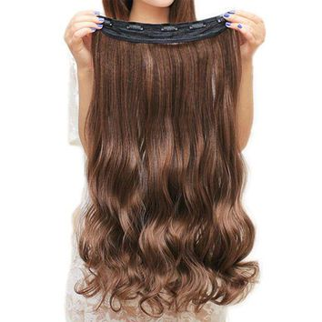ESB1ON Soowee 60cm Long Synthetic Hair Clip In Hair Extension Heat Resistant Hairpiece Natural Wavy Hair Piece
