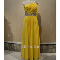2014 Yellow One Shoulder Prom Dress/Floor Length Party Dress/Long Grad Dress